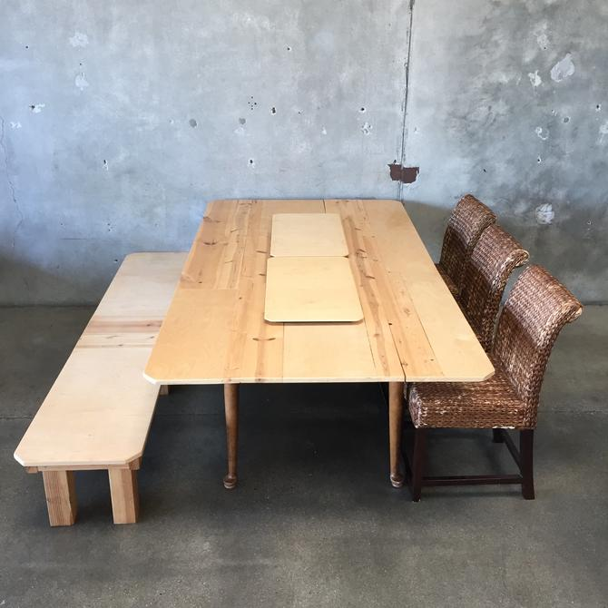 Custom Wood Dining Table with Bench and Sea Grass Chairs