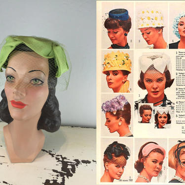 Spring Time Elegance - Vintage 1950s 1960s Lime Chartreuse Green Nylon Bow Pill Box Hat w/Birdcage Veil by RoadsLessTravelled2