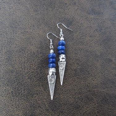 Imperial jasper earrings, modern earrings, unique statement earrings, royal blue earrings, contemporary chic earrings, bohemian earrings by Afrocasian