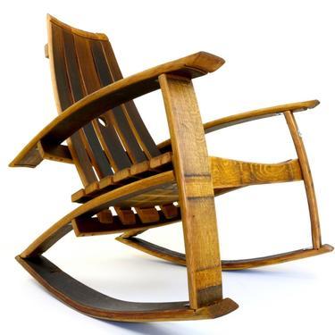 Wine Barrel Rocking Chair - Recurved Wine Barrel Rocker - Handcrafted - Napa Valley by HungarianWorkshop
