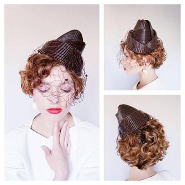 1950s Bes-Ben Hat Brown Cone Shape Space Age / Designer 50s  Modernist Hat Avant Garde Collectible MCM by RareJuleVintage