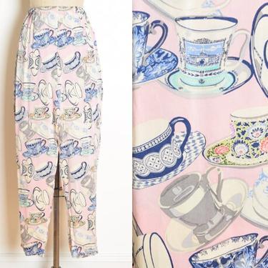 vintage 90s silk lounge pants Victoria's Secret pink teacup print XS S clothing by huncamuncavintage