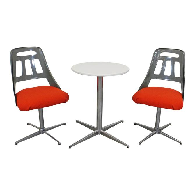 Mid-Century Modern 3-Piece Bistro Dining Set Chrome Lucite Dining Chairs & Table by AnnexMarketplace
