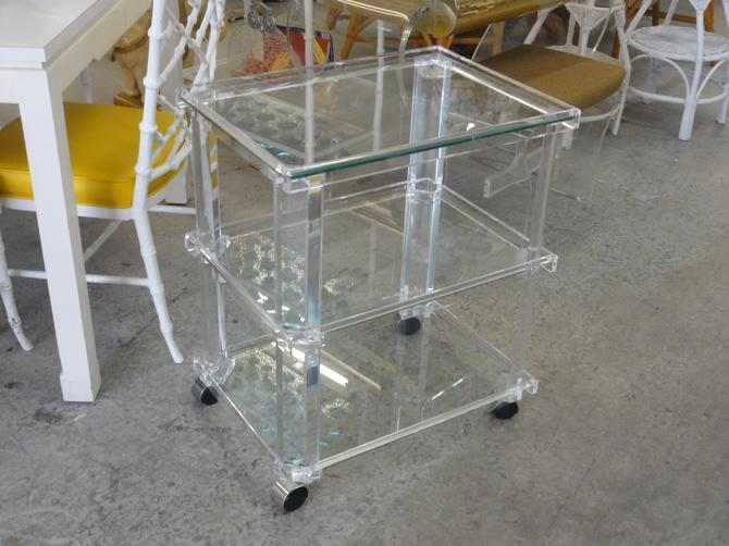 Glam 3 Tier Lucite & Glass Cart