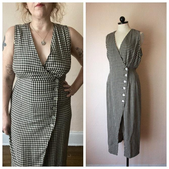 90s Rayon Black and White Gingham Wrap Dress Wiggle Dress Size L / XL by NoSurrenderVintage