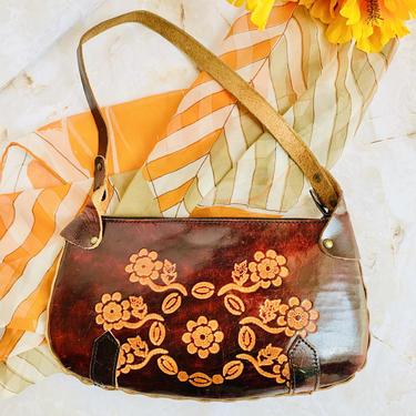Vintage Tooled Leather Purse, Shoulder Bag, Flower Power, Vintage Hippie Boho Hipster by GabAboutVintage