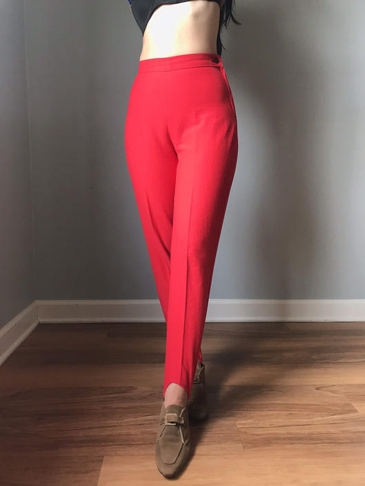 vintage 50s high waisted stirrup pants   cherry red side zip stretch leggings by LosGitanosVintage