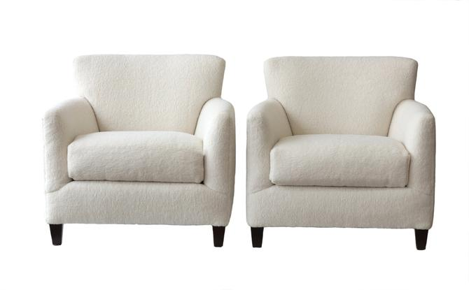 Pair of White Fuzzy Club Chairs by WildChairy