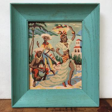 Vintage Paint By Number Dancing Girl With Fruit Basket Hat, Carmen Miranda, Men Playing Bongos, Retro Bohemian, Brazilian Tropical Decor by luckduck