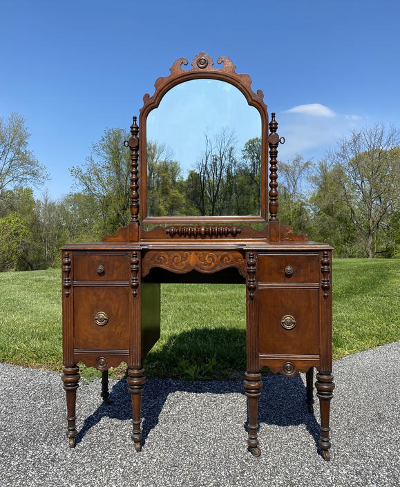 New - Vintage Vanity with Swing Mirror and Original Bench, Available To Customize by ForeverPinkVintage