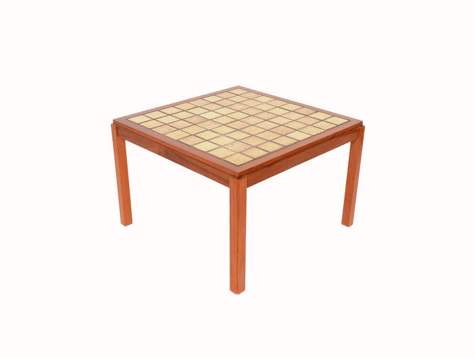 Teak Coffee Table with Tile Top Sofa Table Danish Modern 60s by HearthsideHome
