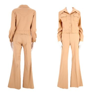 70s H BAR C tan studded western bell bottom suit M / vintage 1970s cowgirl flare pants jacket outfit 6 unisex by ritualvintage