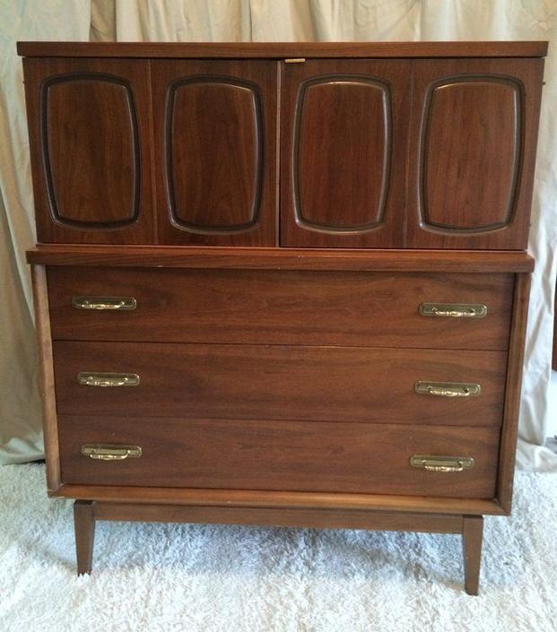Vintage mid century walnut dresser -- $495