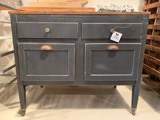 """Vintage painted baker's table, 33"""" w x 23.5"""" d x 32"""" t, $295."""