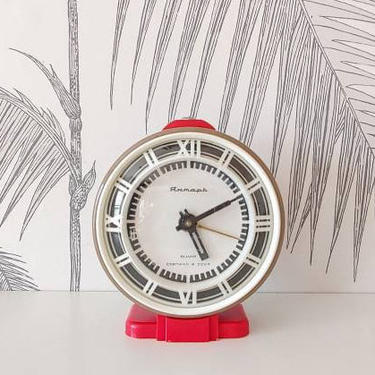 Vintage Alarm Clock, Working Condition, Tabletop, Yantar, made in Russia, circa 50's by colortheoryBoston
