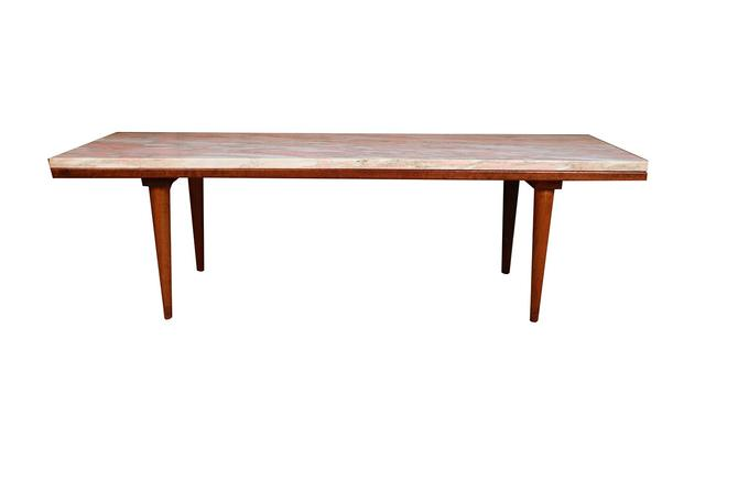 Mid Century Modern Marble Top Slat Bench Coffee Table by Marykaysfurniture