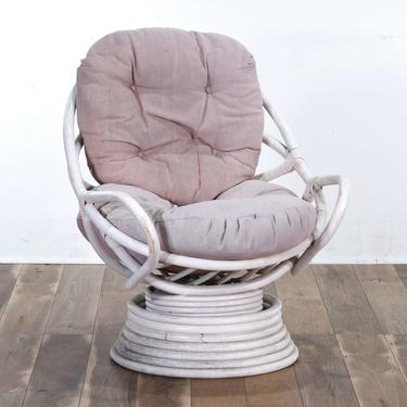 Vintage White Bentwood Papasan Style Lounge Chair