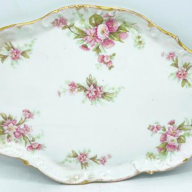 """Vintage Limoges Dresser Tray- Gold and White Porcelain-Pink Flowers 10 3/4"""" X 7.5""""Oval Tray Pink Roses Great Condition by JoAnntiques"""