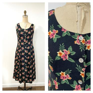 90s floral button up dress by harlowandspring