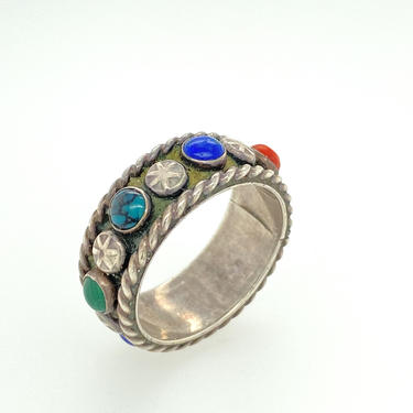 Vintage Artisan Edgar Platero Navajo Multi Stone Sterling Silver Band Ring Sz 8 Signed by HouseofVintageOnline