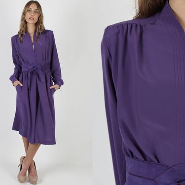 Lilli Ann Solid Purple Color Secretary Dress / Vintage 80s Simple Office Pockets Dress / Matching Suede Belt Midi Maxi Dress by americanarchive
