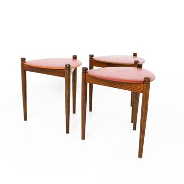 Mid Century Walnut Reversible Top Nesting Stool Side End Tables - mcm by ModernHill
