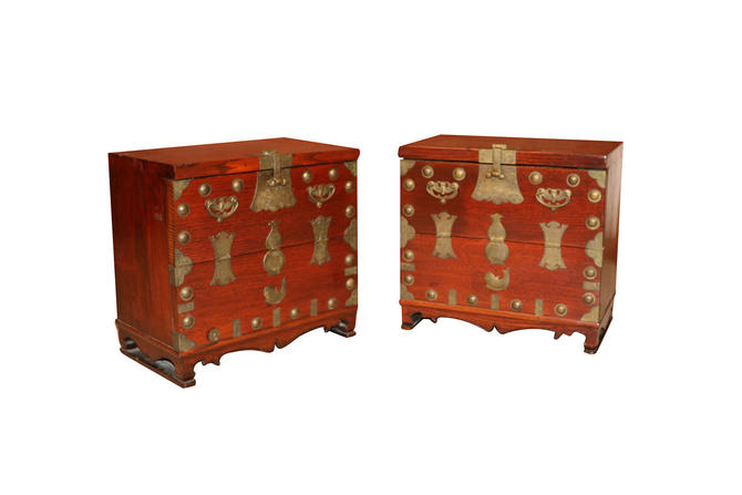 Pair Antique Korean Elm brass Chests by Marykaysfurniture