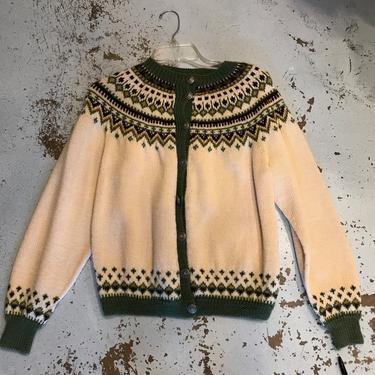 Vintage Fair Isle Wool Handwoven Cardigan, Medium