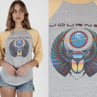 Journey Band T Shirt / 1981 ESC4P3 Tour T Shirt / 80s Baseball T Shirt Vintage Escape Concert Tour Hard Rock Band Tee by americanarchive