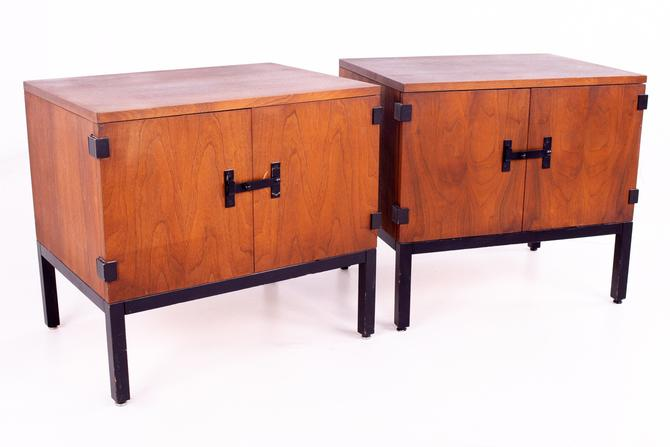 Milo Baughman for Directional Mid Century Walnut Nightstands - Pair - mcm by ModernHill