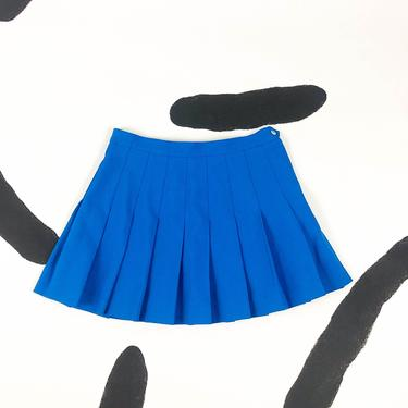 90s Blue Pleated Tennis Skirt / Mini Skirt / Large / Micro Mini / y2k / 00s / Clueless / Cyber / Club Kid / Rave / L / Size 12 / Athletic / by badatpettingcats