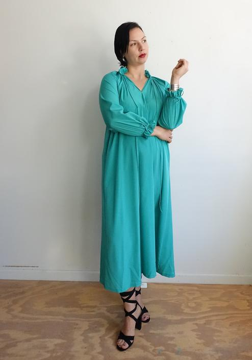 Vintage 80s Teal Ruffle Dress with Poet Sleeves/1980s Minimalist Tent Dress/ Size Large XL by bottleofbread