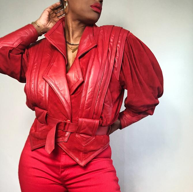 Vintage 1980s 1990s 80s Red Leather Jacket Suede Moto Motorcycle Belted Pleated Puff Sleeve Beltrami Italian Made In Italy Medium by KeepersVintage
