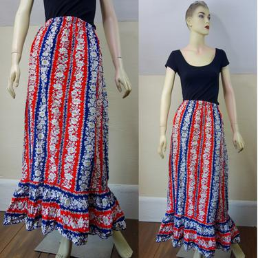 Vintage full length hippie peasant skirt size XS, handmade cottagecore floral long skirt in red white & blue cotton, pull on stretch waist by forestfathers
