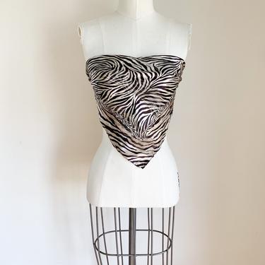 Vintage 2000s Oscar de la Renta Zebra Print  Silk Scarf by MsTips