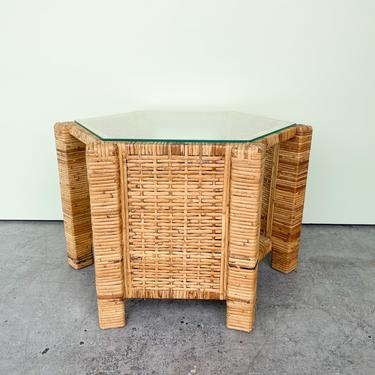 Island Style Rattan Wrapped Hex End Table