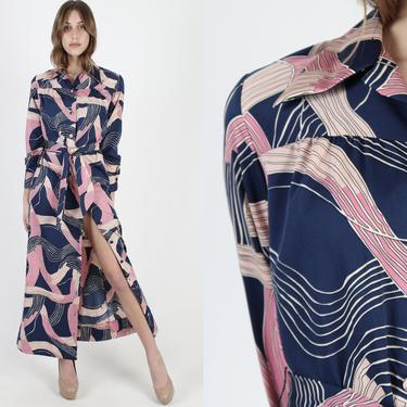 Vintage 70s Lanvin Designer Dress Purple Pink  Wave Print Button Up Dress Long Sexy Dress With Collar 1970s Belted Maxi Dress Size 10 by americanarchive