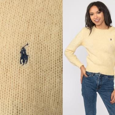 Ralph Lauren Sweater 80s WOOL Sweater Cream Sweater Polo Sport Knit Preppy Pullover Jumper Vintage Extra Small xs s by ShopExile
