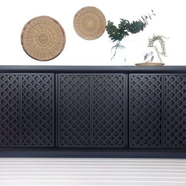 Black Boho Modern - Console Cabinet, Sideboard, Credenza, Media Console by SunnyPatina