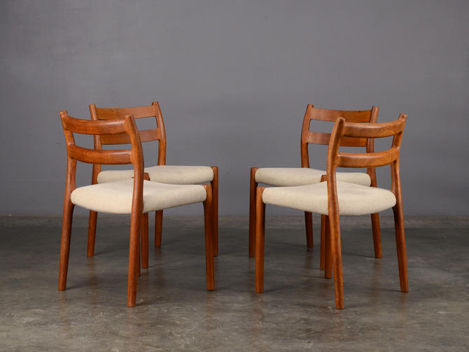 4 Moller Model 84 Dining Chairs Teak Mid Century Danish Modern by MadsenModern
