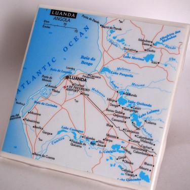 1999 Luanda Angola Map Handmade Repurposed Map Coaster - Ceramic Tile - Repurposed 1990s National Geographic Atlas OOAK Drink Coasters by allmappedout