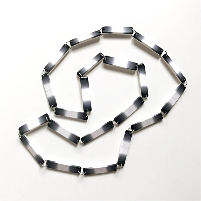 Extra long ombre necklace - shades of black, white + gray - handmade with polymer clay. Inspired by Kentaro's collection on Project Runway by ChrisBergmanHandmade