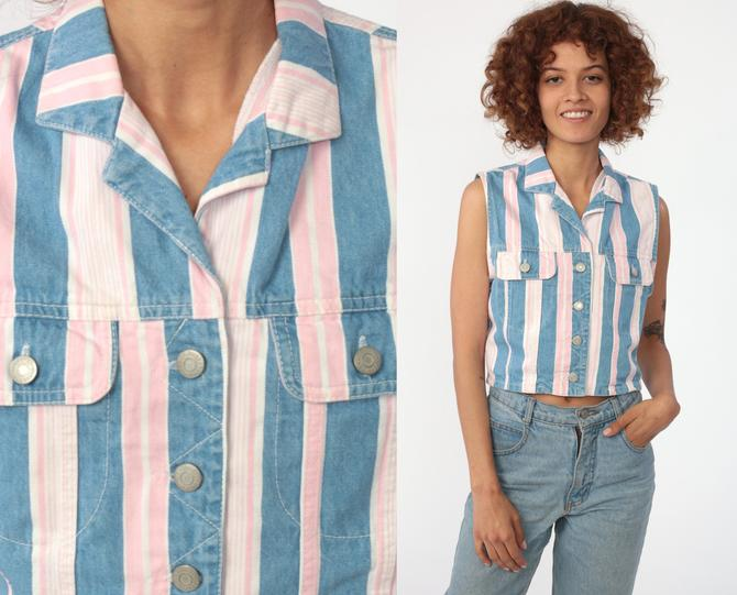Striped Denim Shirt Striped Crop Top Jean Shirt Vest Top 90s Sleeveless  Button Up Baby Pink Blue Top 1990s Grunge Vintage Small by ShopExile