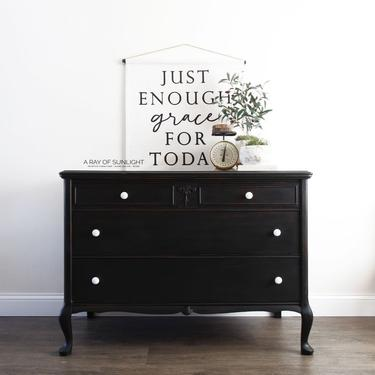 Black Painted Dresser - Chest of Drawers - Refinished Dresser - Painted Furniture - Rustic Black Dresser - Farmhouse Dresser - Entry Table by ARayofSunlight
