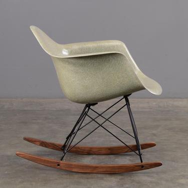 1950s Eames Shell Chair with Rocker Base Sea Foam Green and Walnut by MadsenModern