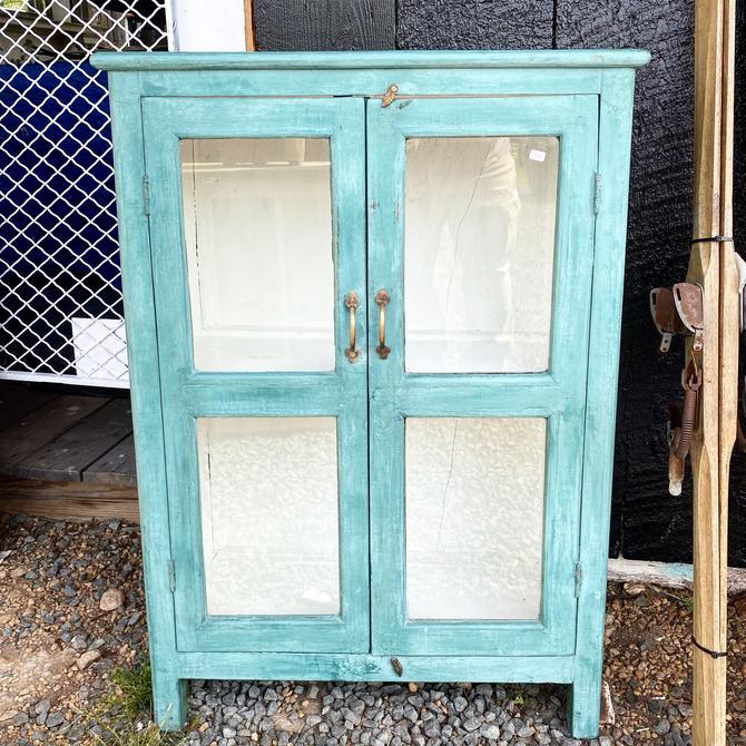 Coastal Blue Teak Cabinet