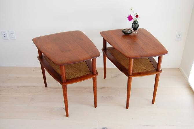Pair of Danish Modern Solid Teak Side Tables Peter Hvidt and Orla Molgaard Nielsen for France and Daverkosen 1950s by MidCentury55