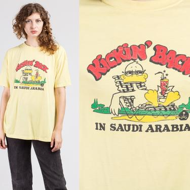 80s Kickin' Back In Saudi Arabia Tourist Tee - Men's XL   Vintage Graphic Duck Souvenir T Shirt by FlyingAppleVintage