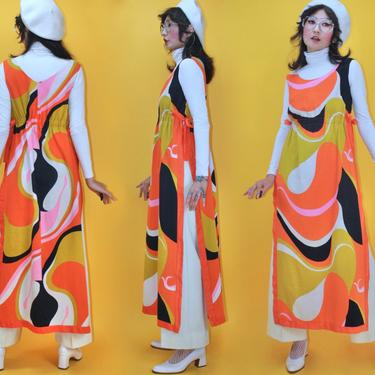 Vintage 1970s 70s Groovy Swirly Hawaiian Dress Deep Slits Cotton by Alice Polynesian Fashion /Fits S M/ 60s 1960s Psychedelic Abstract by TheeAppleBoutique