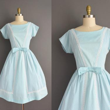 vintage 1950s | Adorable Blue Pinstripe Print Short Sleeve Full Skirt Cotton Day Dress | Large | 50s dress by simplicityisbliss